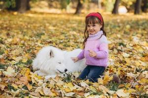 Happy little girl walks with a white Samoyed dog in the autumn park photo