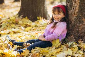Little girl sitting among the yellow autumn leaves in the park photo