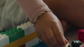 närbild på flicka som leker med liten plasthund video