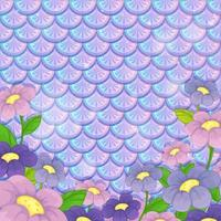 Purple pastel scales pattern with many flowers vector