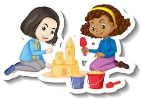 Two girls building sand castle cartoon character sticker vector