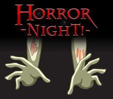 logo de texto de noche de terror con manos de cadáver vector