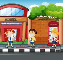 Scene with students keeping social distancing vector