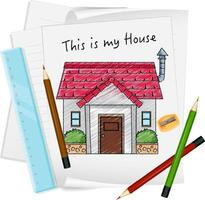 Sketch little house on paper isolated vector