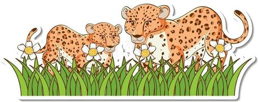 Leopard mom and baby standing in grass field sticker vector