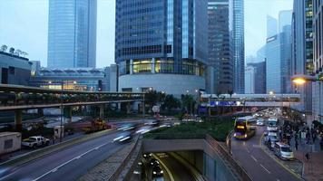 timelapse traffic and crowded people in Hong Kong City video