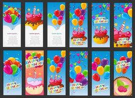 Happy Birthday Card Template with Balloons, Cake and Candle vector