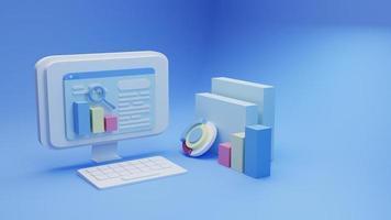 Optimización de motores de búsqueda de renderizado 3D con fondo azul foto