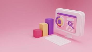 Ilustración de optimización de motor de búsqueda de renderizado 3D con fondo rosa foto