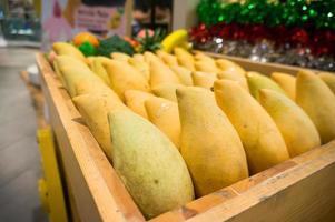 Fresh mango tropical fruit background Copy space. photo