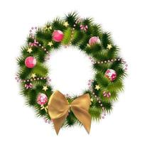 Abstract Beauty Christmas and New Year Background with Wreath. vector