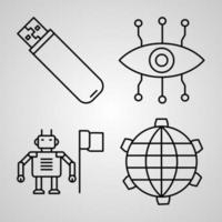 Cyberpunk  Collection On White background Cyberpunk Outline Icons vector