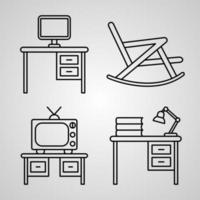 Hotel Symbol Collection On White background Hotel Outline Icons vector