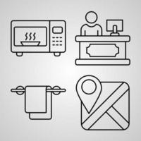 Simple Icon Set of Hotel Related Line Icons vector