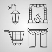 Set of Hotel Icons Vector Illustration Isolated on White Background