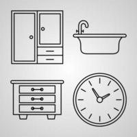 Set of Thin Line Flat Design Icons of Hotel vector