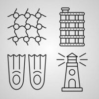 Sailor Line Icon Set  of Vector Symbol in Trendy Outline Style