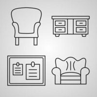 Set of Vector Line Icons of Hotel