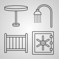 Outline Hotel Icons isolated on White Background vector