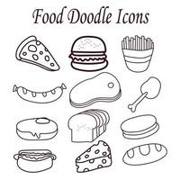 Hand drawn food doodle icons vector