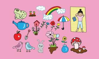 Hand Drawn Doodle Spring Day vector