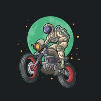 cool astronaut riding motorbike illustration vector