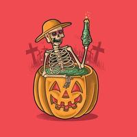 skeleton holiday bathing with drinking beer vector