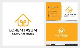 Smart home line art style logo design with business card template vector