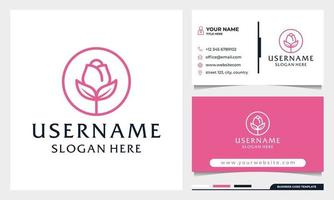 Circle Rose flower, beauty spa or cosmetics logo template vector