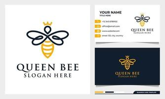 queen bee linear logo design, icon and business card template vector