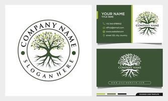 Tree of life logo, badge nature tree illustration with business card vector