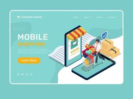 Online mobile shopping landing page illustration template vector