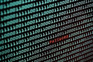 Password text and binary code concept from desktop screen photo