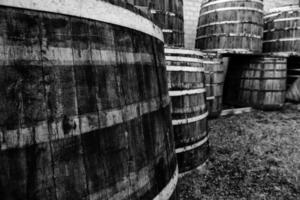 Old rusty wooden barrels photo