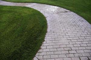 Cobblestone road in the grass photo