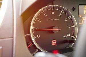 Close-up of a car dashboard photo