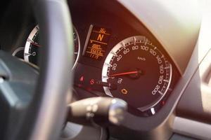 Warning light on car dashboard photo