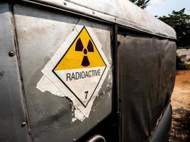 Radiation warning sign on the transport label at the transport truck photo