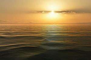 Beautiful seascape with orange sunset. photo