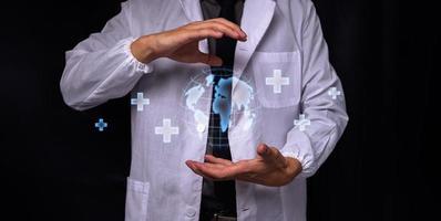 médico con símbolo punto médico foto