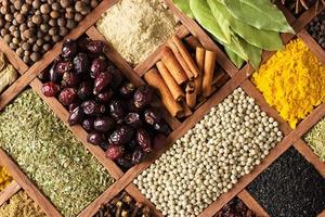 Spices and herbs for decorating food labels photo