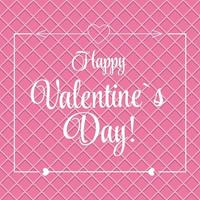 Vector St Valentine Day Greeting Card in Retro Style Design