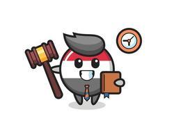 mascota de dibujos animados de la insignia de la bandera de yemen como juez vector