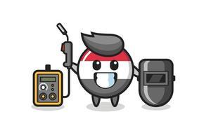 Character mascot of yemen flag badge as a welder vector