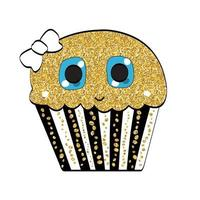 Ilustración de vector de dulce sabroso cupcake