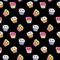Ilustración de vector de patrones sin fisuras cupcake sabroso dulce
