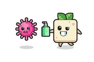 Ilustración del personaje de tofu persiguiendo virus maligno con desinfectante de manos vector