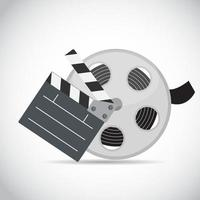 Abstract Cinema Clapper and Reel Flat Symbol Icon vector