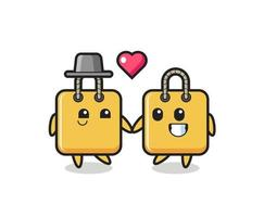 shopping bag cartoon character couple with fall in love gesture vector