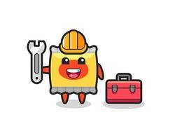 Mascot cartoon of snack as a mechanic vector